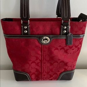 Red Signature Coach Bag with leather accents